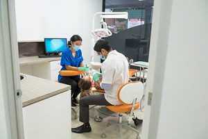dentist working on patient