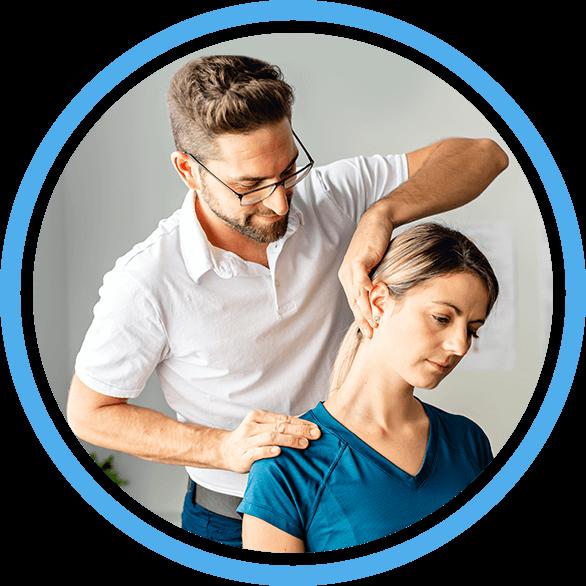 Chiropractor stretching patient neck