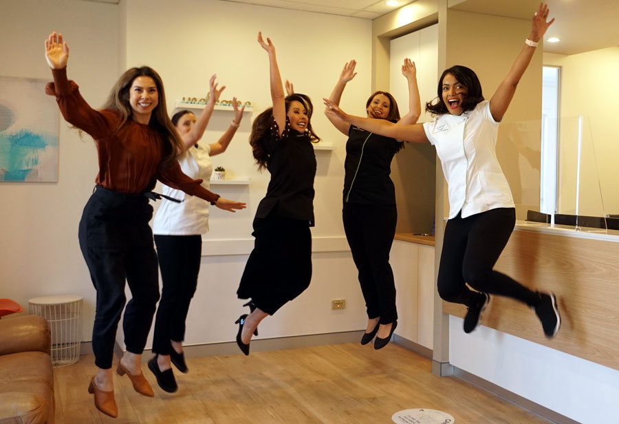 The team jumping