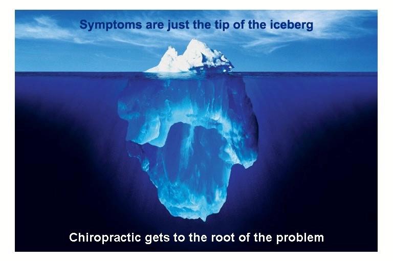 Iceberg with chiropractic saying