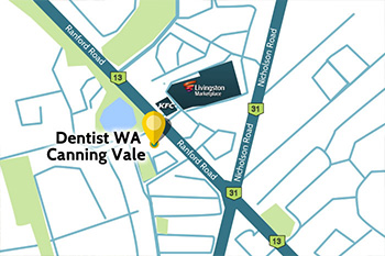 map showing location of Dentist WA Canning Vale