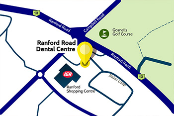 map showing location of Ranford Road Dental Centre