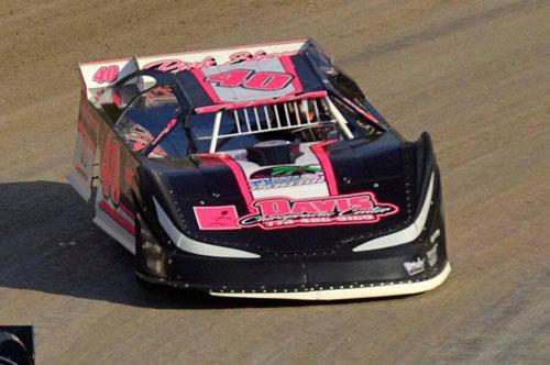 Tina Johnson's race car, sponsored by Davis Chiropractic Center