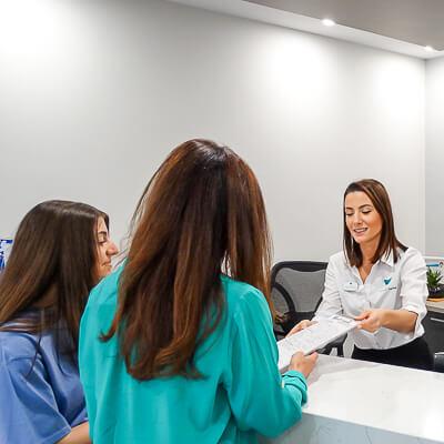Ladies at reception desk