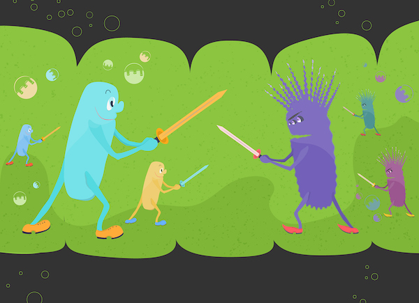 Funny Interpretation Of The Relationships Between Good And Bad Bacteriums. Microbial Environment Of