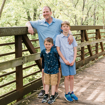 Dr. Brown and sons on the bridge