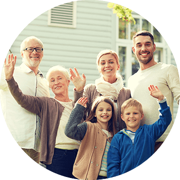 Image of a family waving.