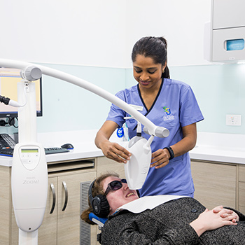 Patient receiving comfortabe treatment