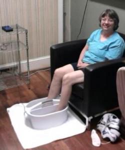 Phila getting her nerve stimulation treatment