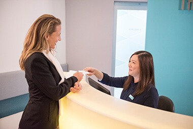 Patient being welcomed by staff