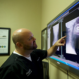 Dr. Kyle reviewing xray