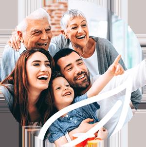 Smiling multi-generation family