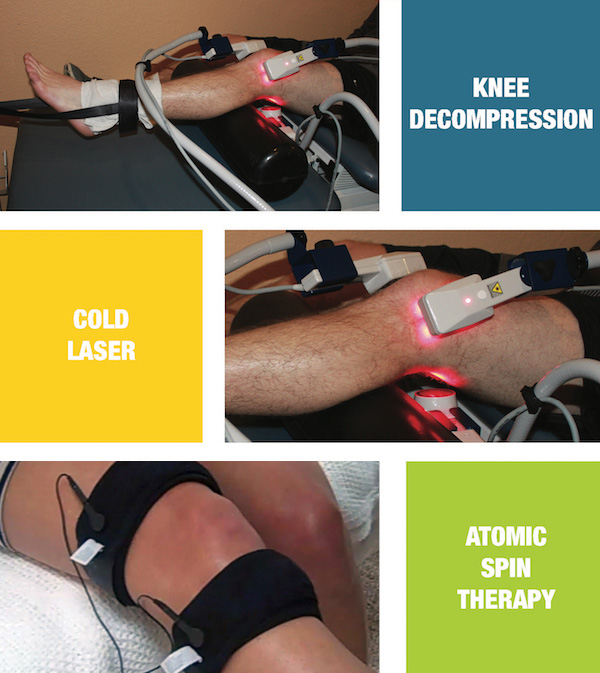 Pictures of knees being treated with chiropractic