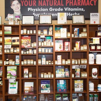 Wall of nutritional supplements and vitamins