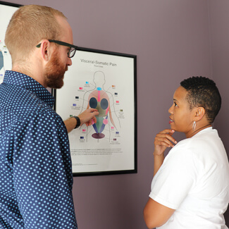 Dr. Luke consulting with patient