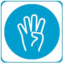 four fingers raised on hand