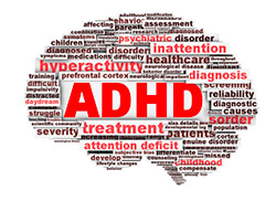 brain graphic with ADHD