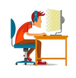 boy looking at computer screen