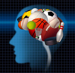 Brain thinking about sports