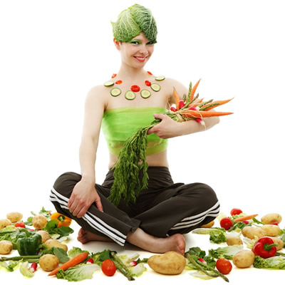 woman covred with vegetables