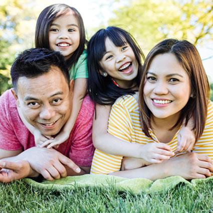 Asian family smiling