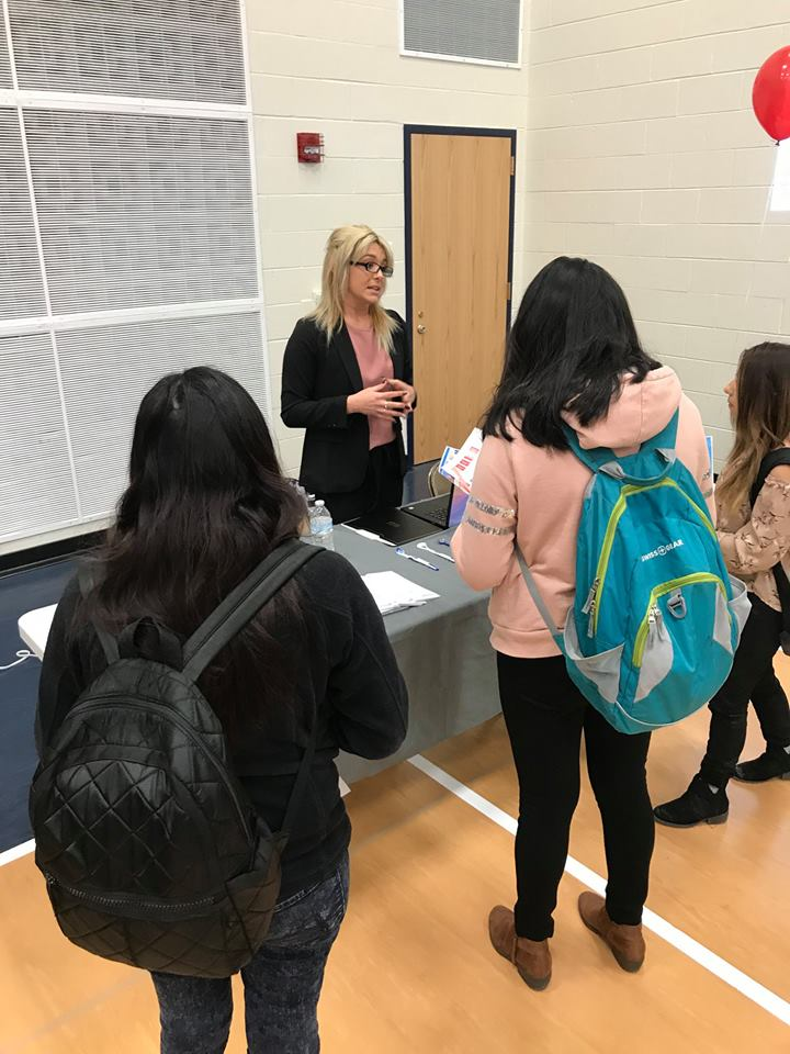 talking with students at career fair