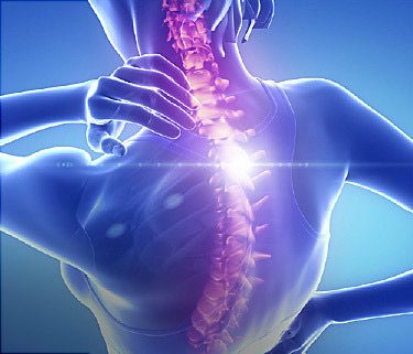 A graphic of an upper back with a glowing spine