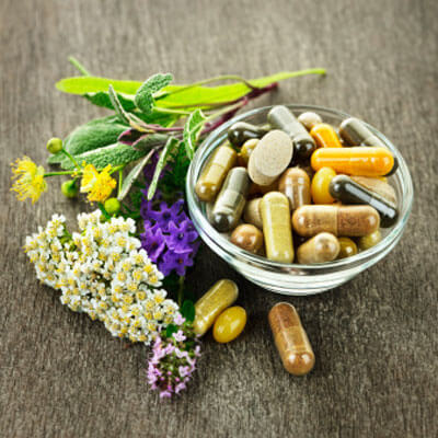 natural supplements in a bowl