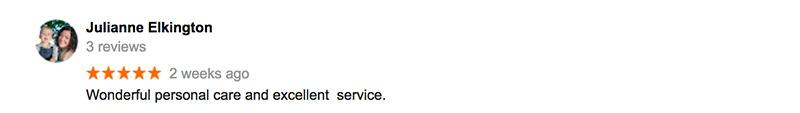 Julianne Google Review