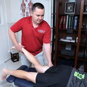Dr Klich applying Active Release Technique