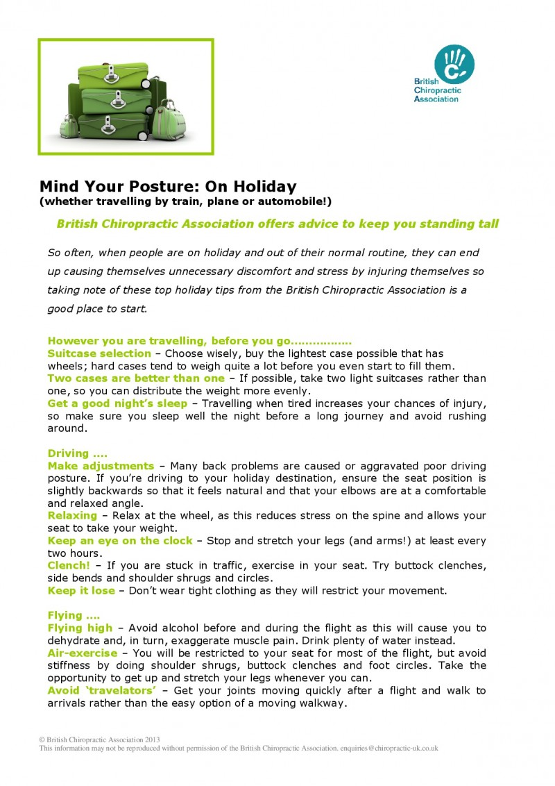 Mind Your Posture: Holiday Travel article, page 1