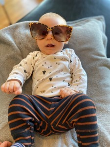 Ray at about 16 weeks old. Stylin' in Momma's shades!