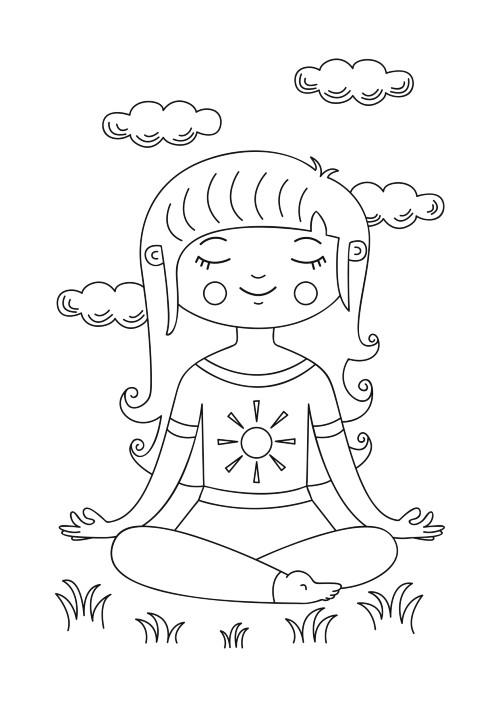 coloring-girl-meditating