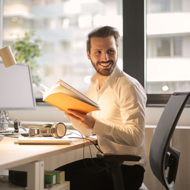man working with office computer