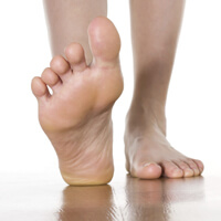 Bare feet walking on floor