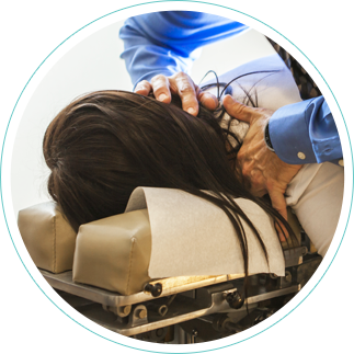 Dr. Todd adjusting ladies neck