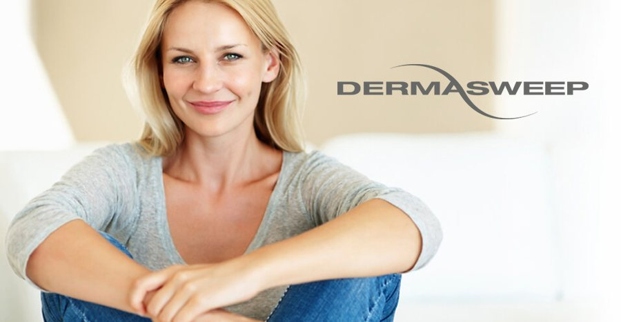 Woman with lustrous, silky skin after Dermasweep treament