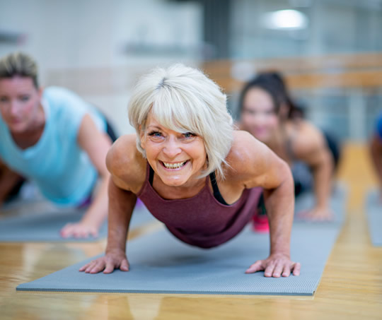 Mature woman push ups