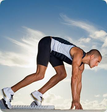 man preparing to run a race