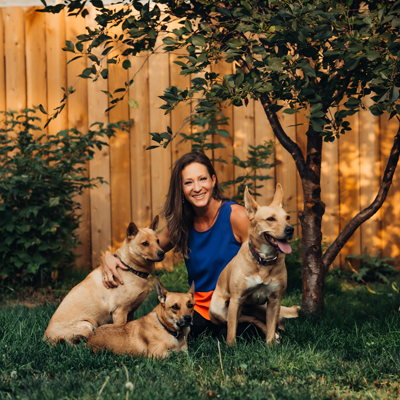 Nikki with her 3 dogs