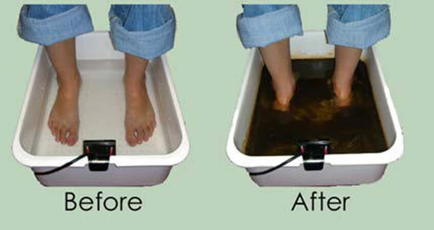 Detox footbath before and after