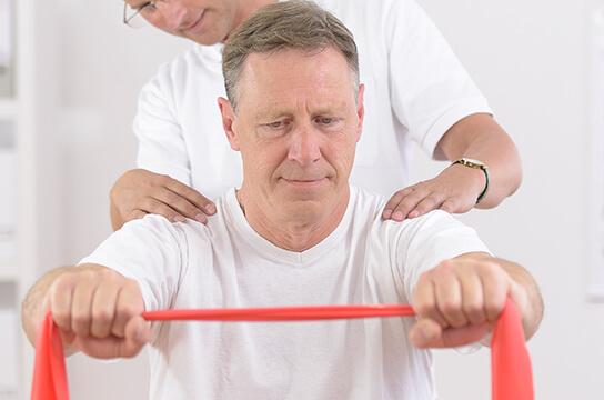 Man stretching exercise band