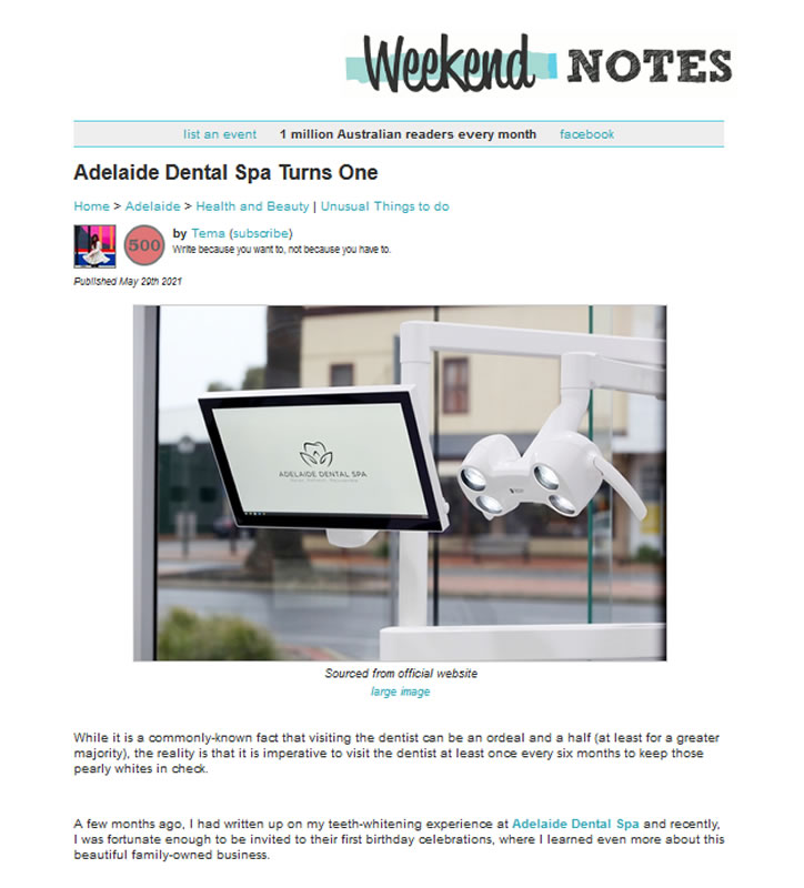 Weekend Notes: Adlaide dental Spa Turns One