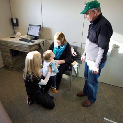 Dr. Townley meeting with patients