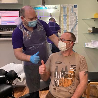 Patient Mark Weller thumbs up