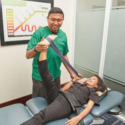 Stretching patient leg