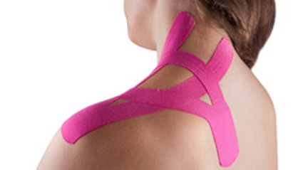 Patient with kinesio taping on shoulder