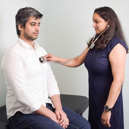 Chaitali checking heartbeat
