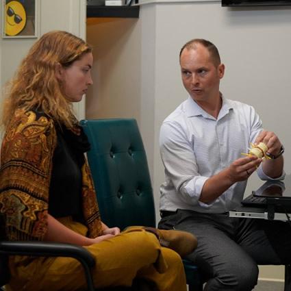 Dr. Bjorn talking with patient