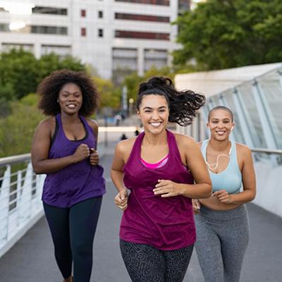 Group of women running